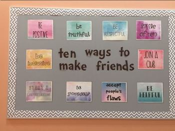 """[BULLETIN BOARD POSTERS] """"10 Ways to Make Friends"""" WATERCOLOR"""