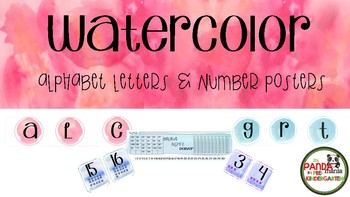 WATERCOLOR Alphabet & Number Posters