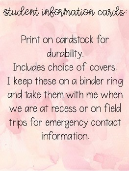 WATERCOLOR Back to School Student Information Cards
