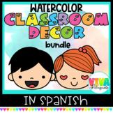 Watercolor Classroom Decor Bundle in Spanish