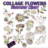 WATERCOLOR COLLAGE FLOWERS CLIPART, CLASS DECOR, BULLETIN