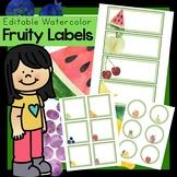 WATERCOLOR Fruity fruit classroom labels