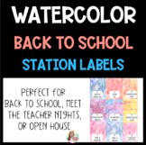 WATERCOLOR Meet the Teacher & Open House Night Station Labels