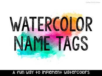WATERCOLOR NAME TAGS - Editable: 5 Options
