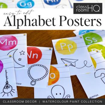 WATERCOLOR PAINT Editable Alphabet Posters