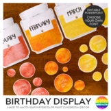 WATERCOLOR PAINT Editable Classroom Birthday Display