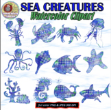 WATERCOLOR SEA CREATURES CLIPART, CLASS DECOR, BULLETIN BO