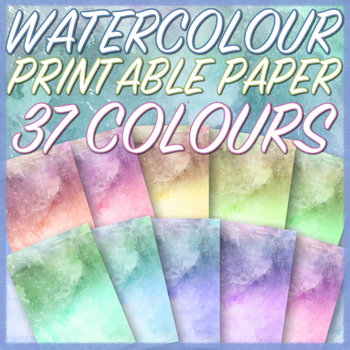 graphic relating to Printable Watercolor Paper named WATERCOLOUR - Printable A4 Paper - 37 Alternate Colors