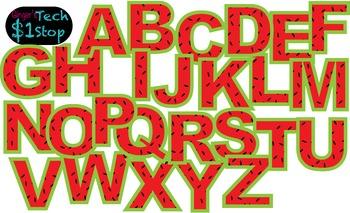 FRUITY WATERMELON * Bulletin Board Letters * Upper Case * Alphabet
