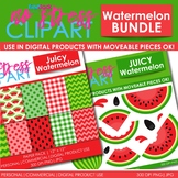 WATERMELON Clipart Plus Digital Papers BUNDLE