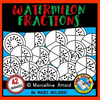 WATERMELON FRACTIONS CLIPART: SUMMER CLIPART: GEOMETRY CLIPART: MATH CLIPART