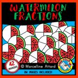 WATERMELON FRACTIONS CLIPART (SUMMER FOOD) MATH GEOMETRY CLIP ART