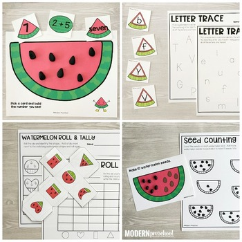 WATERMELON Literacy & Math Centers for Summer (Preschool, PreK, Kindergarten)