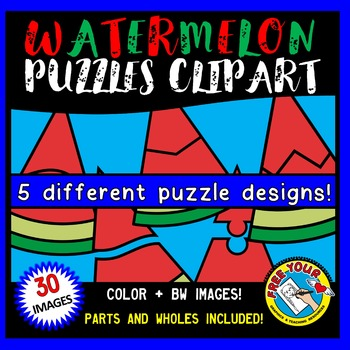 WATERMELON PUZZLES CLIP ART: SELF-CORRECTING PUZZLE TEMPLATES: SUMMER CLIPART