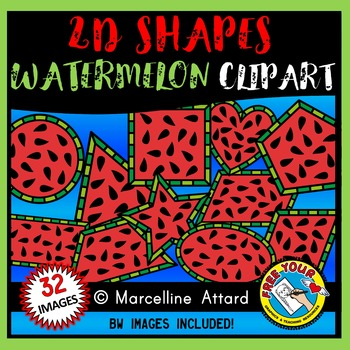 WATERMELON SHAPES CLIP ART: 2D SHAPE WATERMELON SLICES