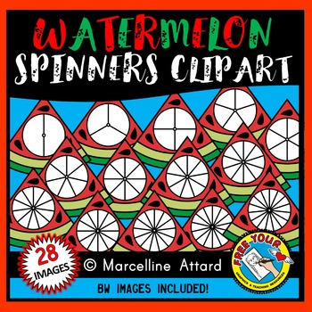 WATERMELON SPINNERS CLIPART: SUMMER CLIPART: WATERMELON CLIPART