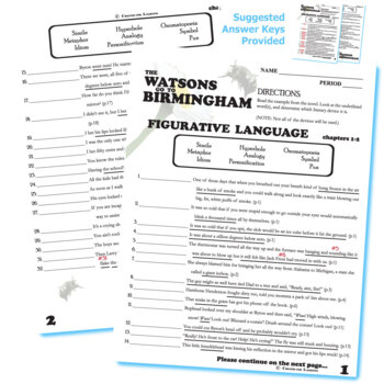 the watsons go to birmingham figurative language 64 quotes tpt. Black Bedroom Furniture Sets. Home Design Ideas