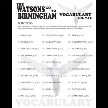 THE WATSONS GO TO BIRMINGHAM Vocabulary List and Quiz (chap 7-15)