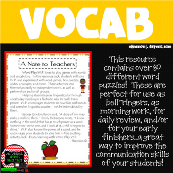Vocabulary, Word Puzzles, and More