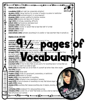 We Beat The Street Chapter Vocabulary Definition Packet (Student-Friendly)