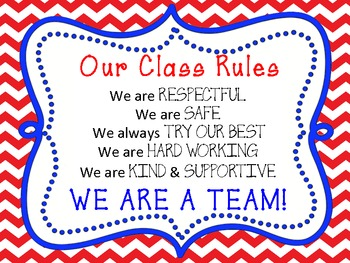 WE ARE A TEAM! Classroom Rules Poster