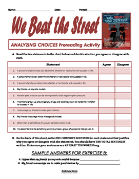 WE BEAT THE STREET Analyzing Choices Pre-Reading Activity