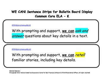 WE CAN Statements Sentence Strips for Kindergarten: Common Core