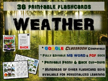 WEATHER - 36 Printable front/back FLASHCARDS