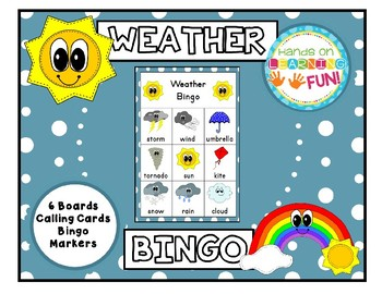 WEATHER BINGO 6 BOARDS WITH CALLING CARDS AND MARKERS