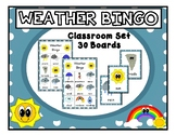 WEATHER BINGO CLASSROOM SET 30 BOARDS WITH CALLING CARDS A