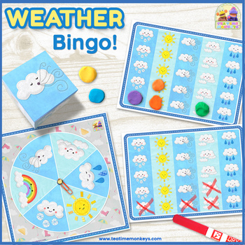WEATHER BINGO - An EDITABLE Dice / Spinner Game with Craftivity!