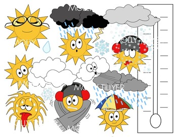 WEATHER CLIP ART * COLOR AND BLACK AND WHITE