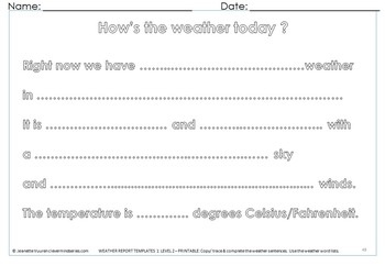 WEATHER FORECASTING - RESOURCES & PRINTABLES (VOLUME 4) by JEANETTE VUUREN