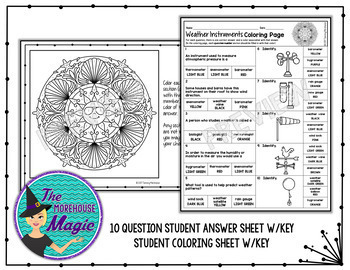 weather insruments coloring page quiz by the morehouse magic tpt. Black Bedroom Furniture Sets. Home Design Ideas
