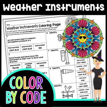 WEATHER INSRUMENTS SCIENCE COLOR BY NUMBER, QUIZ