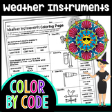 Weather Instruments Science Color by Number or Quiz