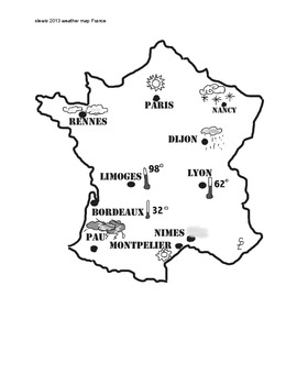 Map Of France Weather.French Weather Map 1 Page France No Words By Miss Sandy Lewis