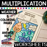 WEATHER Multiplication Solve and Color Worksheets NO PREP
