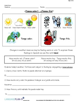 WEATHER PRACTICE, COLD AND HOT (SPANISH 2016 EDITION)
