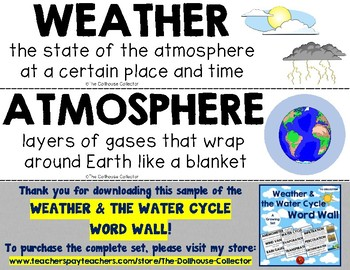 WEATHER & THE WATER CYCLE WORD WALL Freebie Sample! Weather, Atmosphere