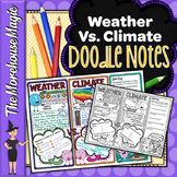 WEATHER VERSUS CLIMATE SCIENCE DOODLE NOTES, INTERACTAIVE NOTEBOOK, ANCHOR CHART