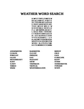 WEATHER WORD SEARCH