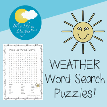 WEATHER Word Search! FUN FREEBIE!