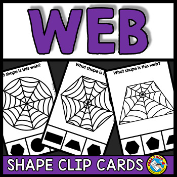 WEB OF SPIDER ACTIVITIES KINDERGARTEN (HALLOWEEN SHAPES RECOGNITION CLIP CARDS)