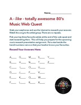 WEBQUEST:  80's Pop Music