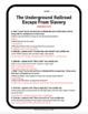 "WEBQUEST - ""The Underground Railroad: Escape From Slavery"""