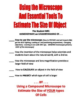 SALE  $8.50  MICROSCOPE LAB - HOW TO USE IT -  A 3-DAY LAB on 4-TYPES of CELLS