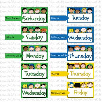 WEEK DAY CARDS Bright Colors Display (Karen's Kids Printables)