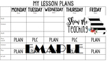 WEEKLY Digital Lesson Planning Template EDITABLE (BLACK & WHITE VERSION)