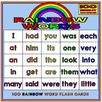 100 SIGHT WORD FLASH CARDS - RAINBOW LEVELS